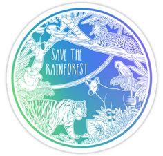 """Save the Rainforest!"" Stickers by Hannah Diaz Canvas Art Prints, Framed Prints, Kawaii Halloween, Cute Stickers, Sticker Design, Glossier Stickers, Sell Your Art, Art Boards, Vinyl Decals"