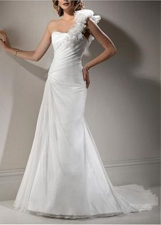 ELEGANT EXQUISITE SAIN A-LINE ONE SHOULDER WEDDING DRESS LACE BRIDESMAID PARTY COCKTAIL GOWN FORMAL BRIDAL PROM CUSTOM