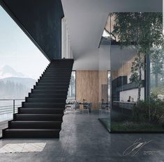 Foggy Lake House by Tung Le Xuan Hanoi . courtsey of Tung Le Xuan - Architecture and Home Decor - Bedroom - Bathroom - Kitchen And Living Room Interior Design Decorating Ideas - Model Architecture, Modern Architecture House, Modern House Design, Interior Architecture, Organic Architecture, Amazing Architecture, Modern Lake House, Stairs Architecture, Modern Staircase