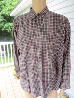 Haggar Generations Mens Size XLarge Long Sleeve Plaid Blue Button Down Front #Haggar #ButtonFront