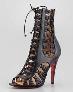 F/W 13/14 - Christian Louboutin - Azimut Caged Leather Bootie, Black