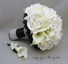 Black White Wedding Bridal Bouquet Stephanotis Real Touch Roses Calla Lilies Groom's Boutonniere Real Touch Custom Wedding Bouquet  Must have!