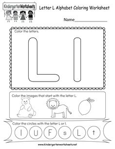 This is a letter L worksheet. Children can color the letters and the images that begin with the letter L. You can download, print, or use it online. Letter L Worksheets, Free Printable Alphabet Worksheets, Coloring Worksheets For Kindergarten, Writing Practice Worksheets, English Worksheets For Kids, Printable Letters, Nursery Worksheets, Letter L Crafts, Preschool Letters
