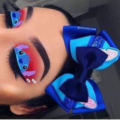 Lilo and Stitch themed makeup Makeup Looks For Green Eyes, Makeup Eye Looks, Eye Makeup Art, Crazy Makeup, Cute Makeup, Eyeshadow Makeup, Fairy Makeup, Mermaid Makeup, Eyeshadows