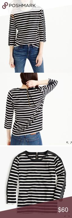 """EUC J.Crew striped t shirt with zipper back FINAL/FIRM PRICE Slightly loose fit. Body length: 24"""". The striped T-shirt that's both classic and cool, thanks to faux-leather details on the sleeves and an exposed gold zipper in back. Cotton. Machine wash. Very good condition. 🚫No trades. J. Crew Tops"""