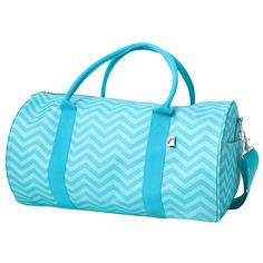 Ahead of the Pack It's a gym bag, it's a sleepover bag, it's whatever you want it to be! This aqua chevron duffle is just what you're looking for and will house everything you need all day long. Compl