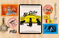 The El Felix Restaurant Branding by Green Olive Media - Grits & Grids® Layout Inspiration, Graphic Design Inspiration, Graphic Design Typography, Branding Design, Menu Design, Food Design, Fun Illustration, Illustrations, Restaurant Branding