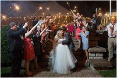 Sparkler exit. Delfosse Vineyards & Winery Virginia Wedding. Laura's Focus Photography.