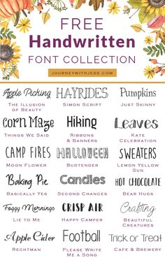 Free Font Collection Rustic Fonts — Journey With Jess Inspiration for your Creative Side is part of Rustic font Happy fall! It& been almost 7 weeks since my last font collection series post and - Fancy Fonts, Cool Fonts, Artsy Fonts, Creative Fonts, Info Board, Calligraphy Fonts, Handwritten Fonts, Free Cursive Fonts, Monogram Fonts Free