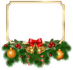Christmas Golden Border PNG Clipart Image