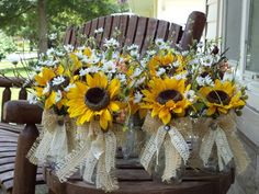 rustic table decor with sunflowers and mason jars | Rustic Sunflowers Berries and Geenery Table Arraangements with Burlap ...