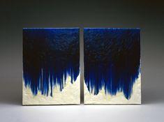 Jun Kaneko - Path of Liquid, Wall Slabs, 1996 Glazed ceramics Ceramic Pottery, Ceramic Art, Nebraska, Sculpture Art, Sculptures, Art Public, Im Blue, Action Painting, Blue Springs