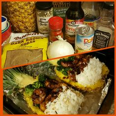 Jack Daniels Chicken and Shrimp Pineapple Bowls.....sauce recipe just google it. I fried the chicken and shrimp so it was more like Fridays but its good sauteed too or with salmon!!!
