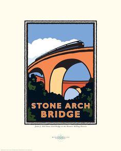"Landmark Series | ""Stone Arch Bridge"" Minneapolis, MN by Graphic Artist, Mark Herman"