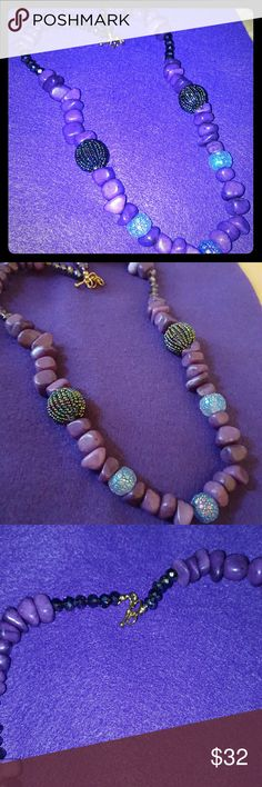 Necklace Purple chucky beads and crystal,  gold heart shaped clasp Natural Treasures  Jewelry Necklaces