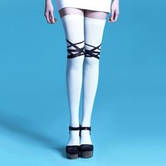Criss-Crossed Black & White Tights