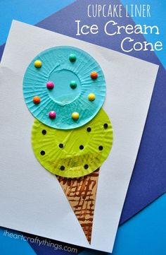 Fun cupcake liner ice cream cone kids craft perfect for a summer craft for kids, summer kids craft, preschool craft and cupcake liner crafts.