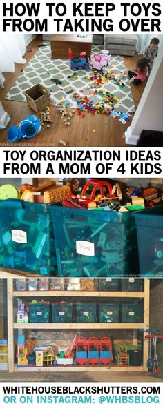 tips on toy organization and storage in a small home. Written by a mom of four young kids. MUST READ! tips on toy organization and storage in a small home. Written by a mom of four young kids. MUST READ! Kids Room Organization, Organization Hacks, Organizing Toys, Organizing Ideas, Playroom Ideas, Organising, Diy Spring, Ideas Para Organizar, Toy Rooms
