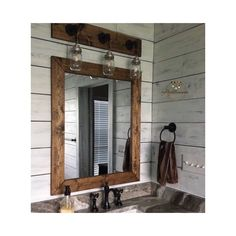 Dark Walnut Wood Framed Mirror, Rustic Wood Mirror, Bathroom Mirror on Home Bathroom Ideas 7259 Industrial Bathroom, Wood Bathroom, Bathroom Sets, Small Bathroom, Mirror Bathroom, Light Bathroom, Industrial Pipe, Bathroom Modern, Modern Faucets