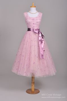 1950's Lilac Silk Vintage Party Prom  Dress : Mill Crest Vintage