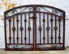 Wrought Iron Security Doors, Wrought Iron Garden Gates, Metal Gates, Wrought Iron Doors, Backyard Gates, Garden Fences, Iron Gate Design, Entrance Gates, Etsy