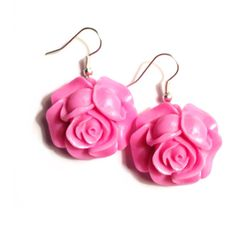 Lilac Rose Earrings - Silver Plated French Hooks, Pink, Purple, Shabby... ($12) ❤ liked on Polyvore featuring jewelry, earrings, pink, pink ribbon jewelry, pink rose earrings, pink earrings, filigree earrings and purple jewelry