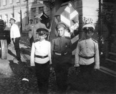 Tsarevich Alexei in military uniform during WWI with friends