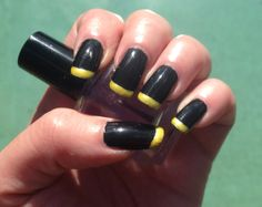 Black and yellow French manicure