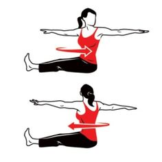 Spine Twist * This basic Pilates exercise helps in toning your back and getting rid of those pesky back fats Fitness Motivation, Fitness Diet, Health Fitness, Keep Fit, Stay Fit, Bora Malhar, Pilates, Sport Food, Back Fat Workout
