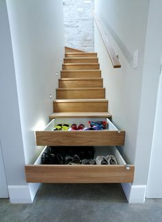 Stairs that have storage and organization - Let Grant McIntosh Design Inc help you to make this happen in your home