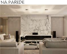assim eu gosto sala lareira moderna acabamento marmore carrara