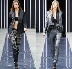 Maxime Simoëns 2014 Spring Summer Womens Runway Collection - Paris Fashion Week - Mode à Paris - Motorcycle Biker Zippered Jeans Jacket Leat...