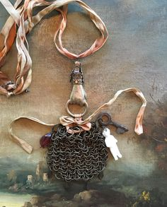 Mesh Miser's Purse with Frozen Charlotte Necklace