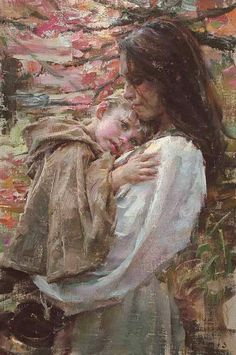 A Mother's love- Arms of safety by Robert Coombs Illustration Art, Illustrations, Mother And Child, Mother Mother, Mothers Love, Beautiful Paintings, Paintings Famous, Oeuvre D'art, Love Art