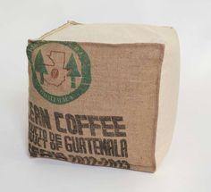 POUF-ECRU CLEAN-COFFEE