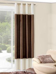 Brązowo kremowa zasłona gładka na okno
