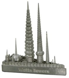 Untitled 1 Location Graham Avenue and Street, Los Angeles, CA Architect Simon Rodia Date Completed Height in Feet 99 Floors n/a Replica Height inches Scale = Finish Shown New Pewter Watts Towers, Tower Stand, Graham, Pewter, Buildings, Shelf, Angels, Join, Decorations