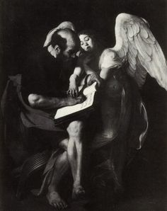 Original composition for Saint Matthew and the Angel by Caravaggio. Destroyed in WWII Caravaggio, Saint Matthew, Pierre Auguste Renoir, Edouard Manet, William Adolphe Bouguereau, Punk, Paul Cezanne, Still Life Photography, Wedding Photography
