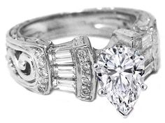 Engagement Ring - Pear Diamond Vintage  Engagement Ring  Baguettes & Diamond Accents - ES97PSWG