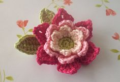 Crochet Flower with Leaves Applique in Pink by Mylittlepalette, $4.00