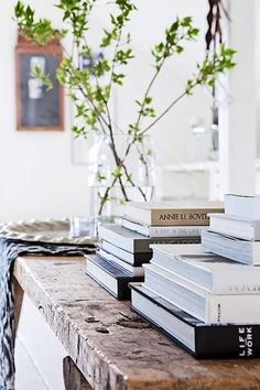 Who says vignettes have to be complicated or expensive. This coffee table uses a range of books combined with a large-scale branch to make a perfect styling statement.