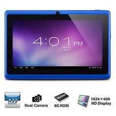 "#computer 7"" inch Android 4.4 Quad Core Tablet PC MID 8GB Dual Camera Wifi Bluetooth Blue please retweet"