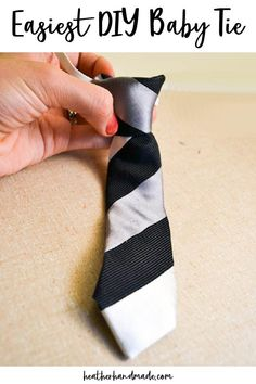 Learn how to make the easiest DIY baby tie by refashioning a men's silk tie. It looks professional, but it's really easy to sew! I have been reading many, many tutorials for making little boy ties and they were all great, but took a lot of steps. They often used quilting cotton and didn't look like a grown up men's tie. I knew there was an easier way, so I fiddled until I came up with the perfectly EASY DIY baby tie. It is just one short stitch on your machine and a couple of hand stitches. Baby Sewing Tutorials, Small Sewing Projects, Easy Sewing Patterns, Sewing Blogs, Sewing Projects For Beginners, Sewing For Kids, Free Sewing, Sewing Hacks, Sewing Tips