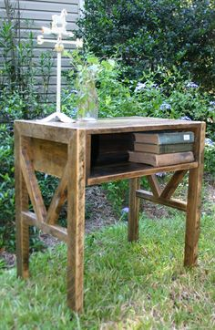 Reclaimed Wood  End Table Bed Side Table by GreenSouthLiving, $160.00