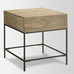 """Solid mango wood with natural color variations. 20""""w x 22""""d x 22""""h. Steel legs. $299."""