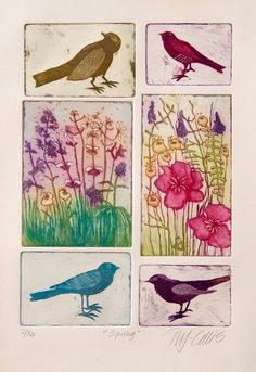 etching Spring flowers and birds in pastel by mariannjohansenellis, $87.00