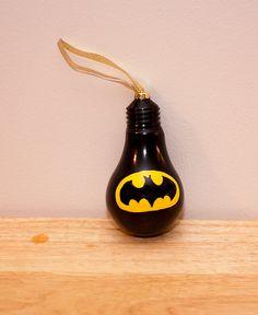 Batman Bulb Ornament by SewCharmingCrafts on Etsy, $7.00