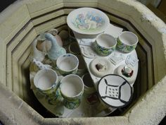 Loaded kiln with fairy garden homes