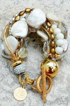 Champagne Pearl & Gold Holiday Bracelet: Holiday Inspired Rhinestone, Champagne Pearl, Bronze & Gold Bracelet