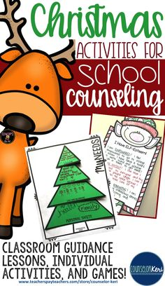 Christmas activities for elementary school counseling - classroom guidance lessons, individual activities, self esteem activities, games, and more! -Counselor Keri